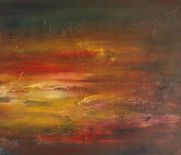 Honey Sunset, 35x30 cm, original artwork, FREE SHIPPING - Image 0