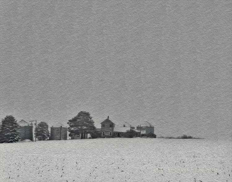 Old Prairie Farm in Winter -