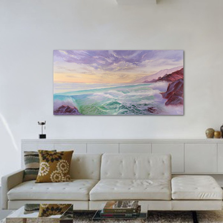 Pristine, Large Seascape Oil Painting on Canvas, XL Ocean Art, Lavender Ocean Waves Painting - Image 0