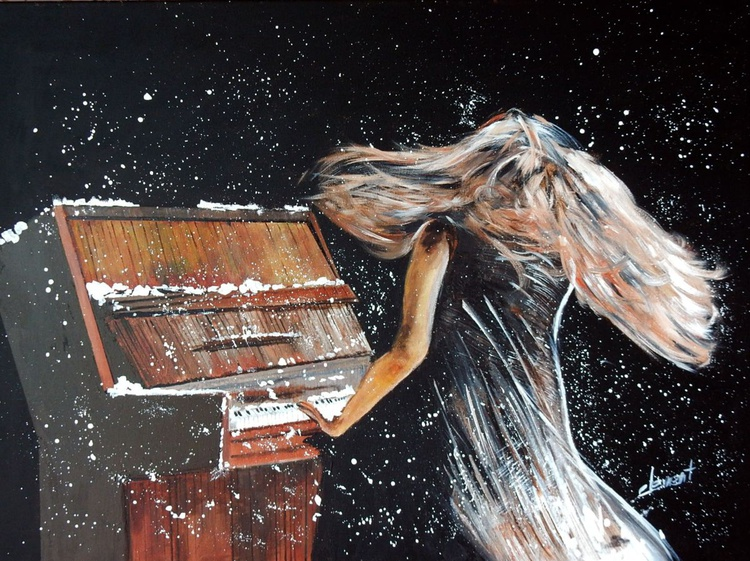 Lady Playing Piano under Snowing - Image 0