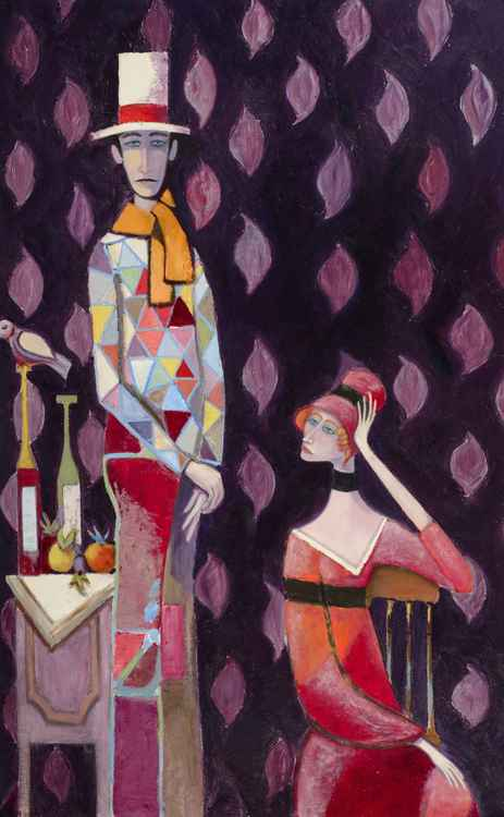 """Harlequin Man with Seated Lady in Red Orange"""