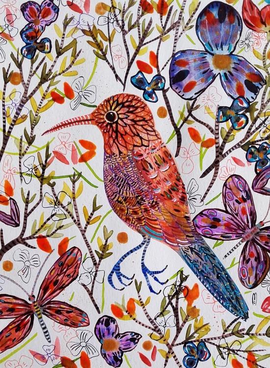 Bird Watercolor Orange Bird Animal Art - Nature - Bird Flowers - Céline Marcoz Art - Image 0
