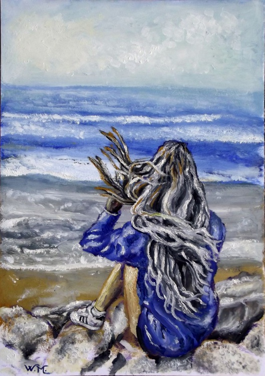 SITTING ON THE BEACH - Seascape view - 29.5x42 cm - Image 0