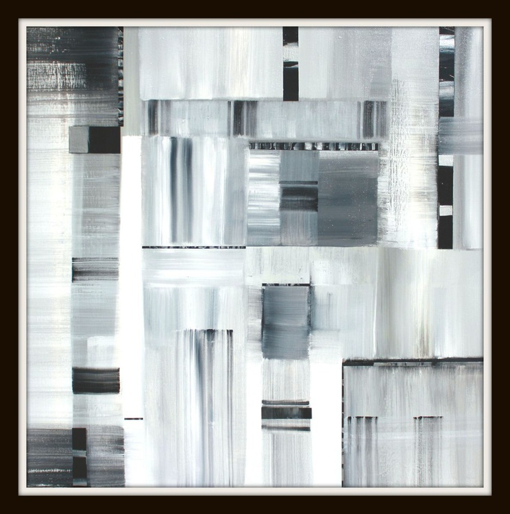 Black, Silver, White Abstract - Image 0