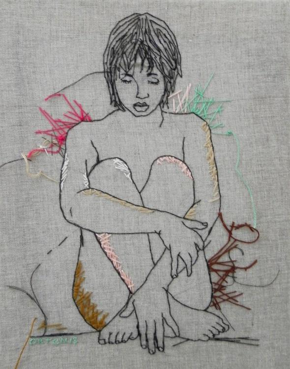 Embroidered Female Nude Figure Study Grey, Cerise And Truquoise - Image 0