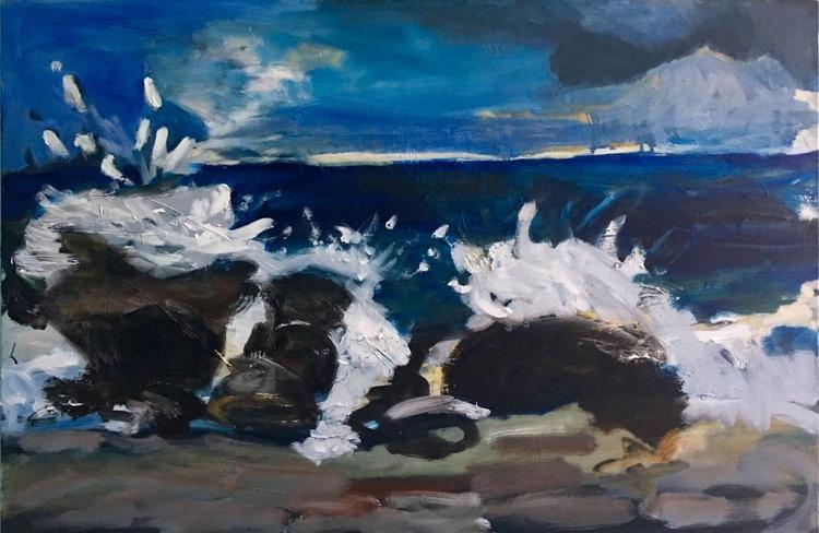 Malibu Seascape, large expressionist oil painting - Image 0