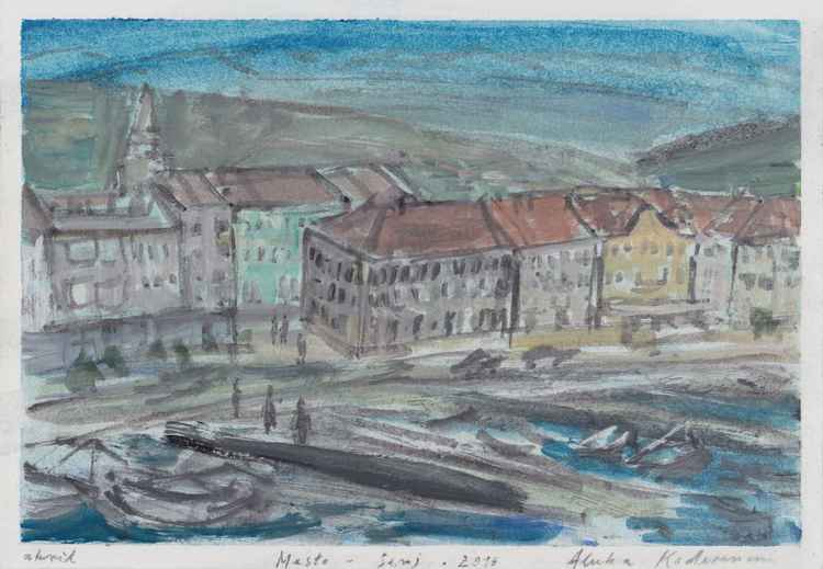 Mesto / Town - Senj, August 2016, acrylic on paper, 19,9 x 28,6 cm