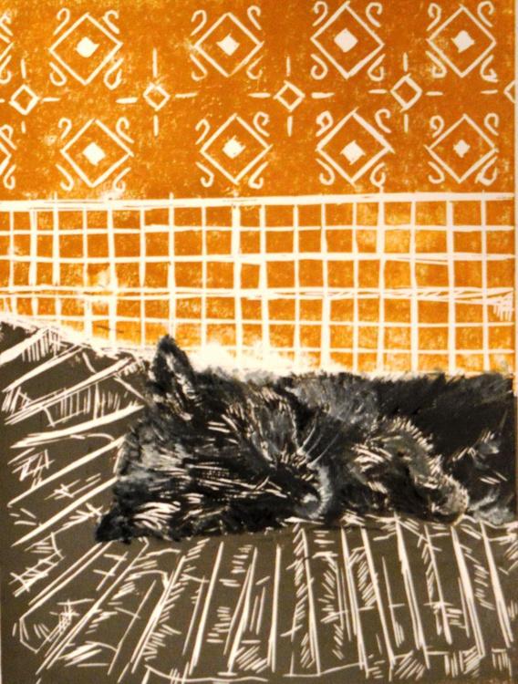 """Cat Nap: """"Belle chasing dreams"""", Original Linocut Print, 2016 - Image 0"""