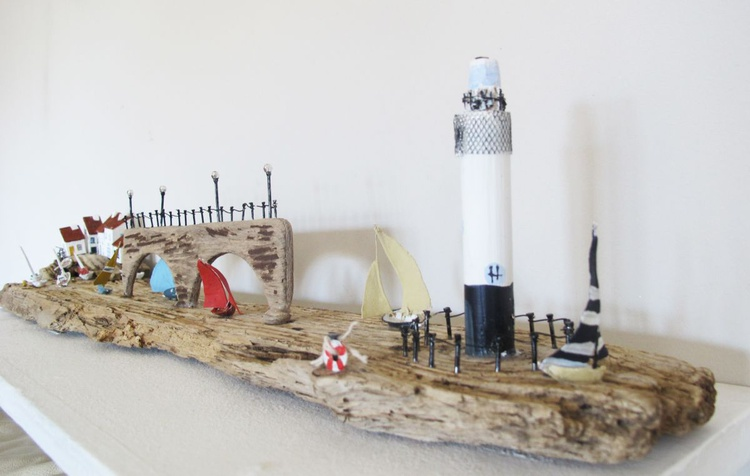 Driftwood Seaside Town Sculpture - Image 0