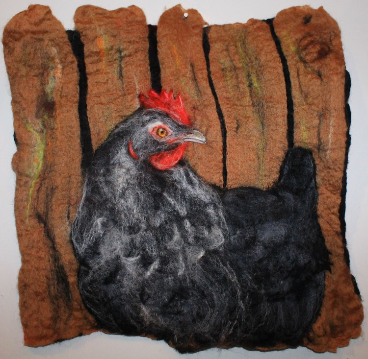 Speckledy the Hen, wool painting, framed felted picture - Image 0