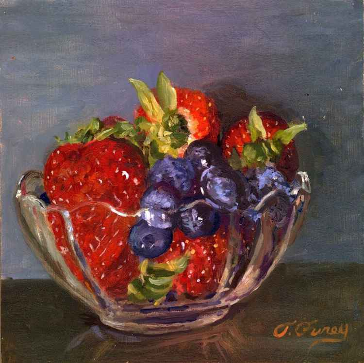Strawberries and Berries in Glass Cup