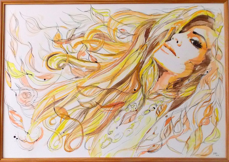 """"""" Fairy """" - Large Watercolor Painting  on canvas,  mixed media - liquid watercolor, ink, gold acrylic - Image 0"""