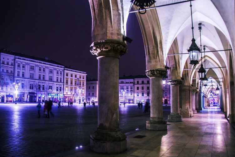 Cloth Hall in violet light -