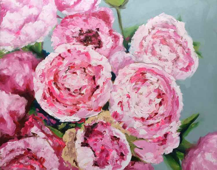 "peony Delight - oil on canvas 24""x30"" -"