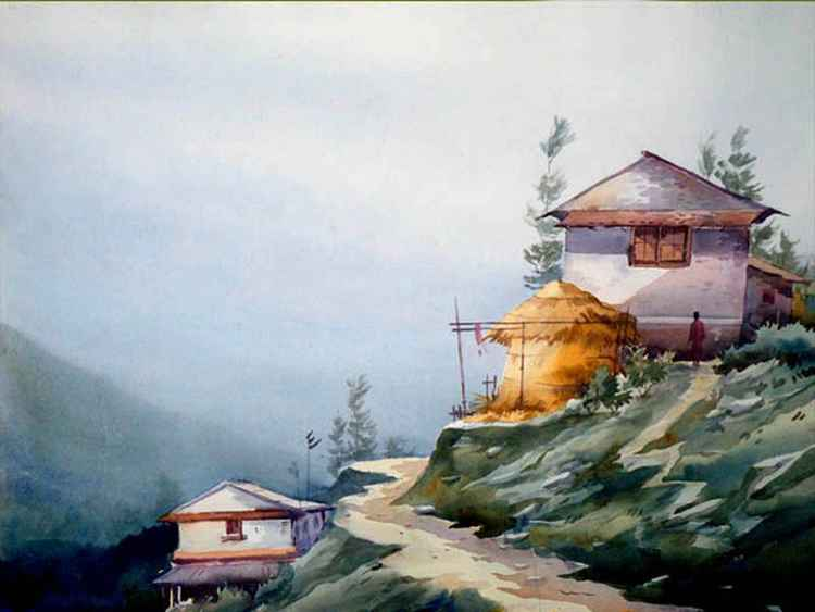 Mountain Village in Nepal - Watercolor Painting -