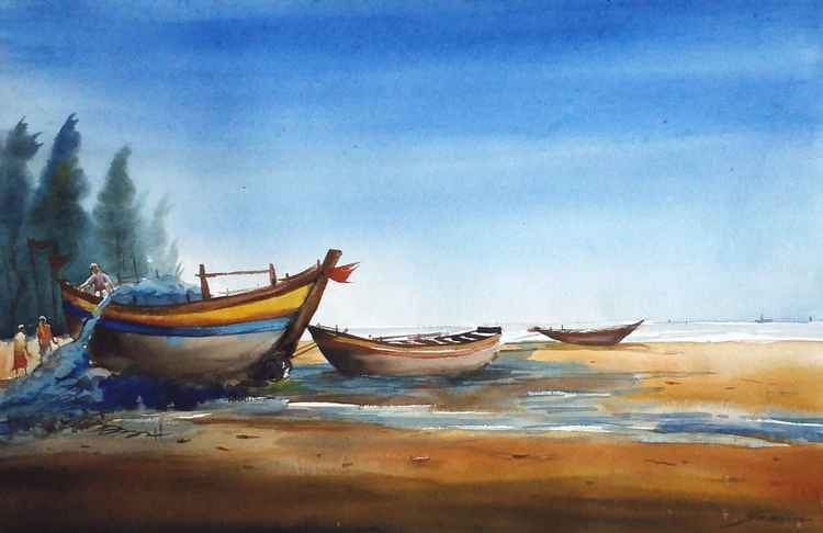 Fishing Boats at Seashore - Watercolor painting -
