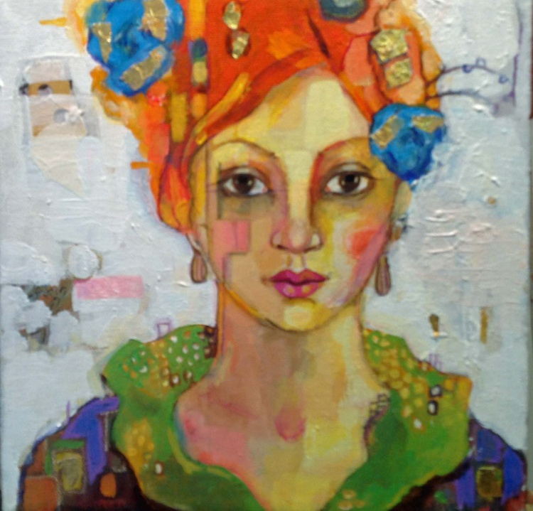 Girl with Blue Rose and Orange Hair - Image 0