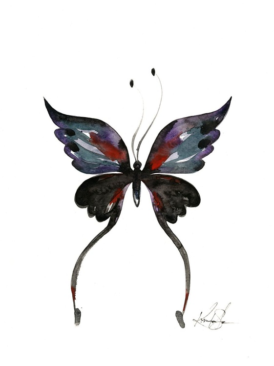 Watercolor Butterfly 13 - Abstract Butterfly Watercolor Painting - Image 0