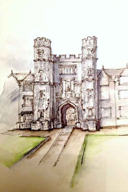Second Court, St Johns College, Cambridge, Original Drawing -