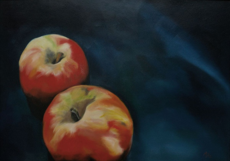 Two Apples (i) Still Life Original Oil Painting Ready to Hang - Image 0