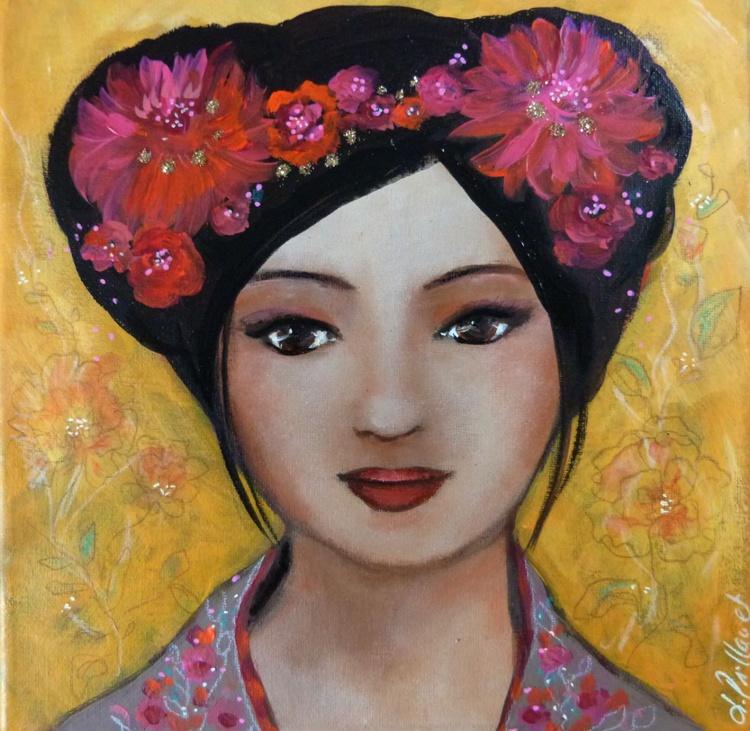 Sun Love acrylic portrait - Image 0