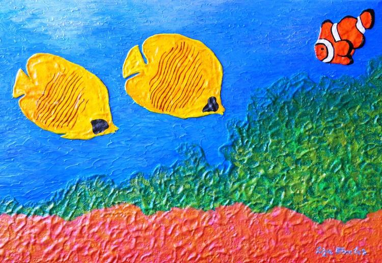 Reef - Original, unique, impressionistic impasto painting, aquatic seascape featuring reef and fish - Image 0