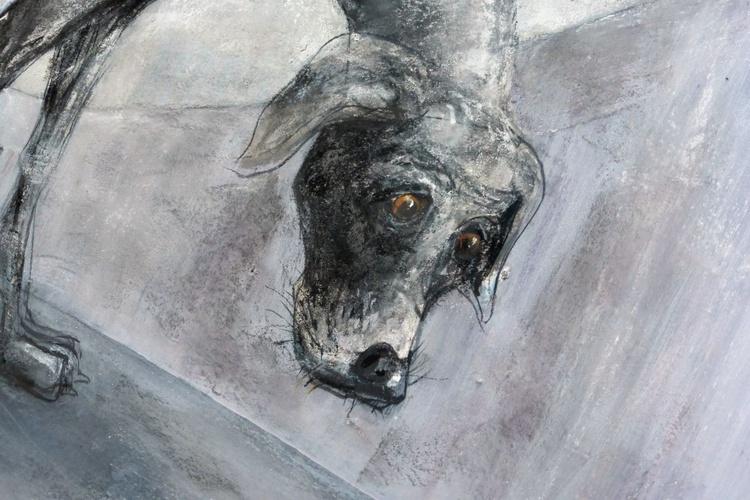 A grey dog, on a grey day, under the Mancunian Way. - Image 0