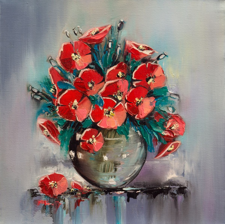 Red poppies in a vase - Image 0