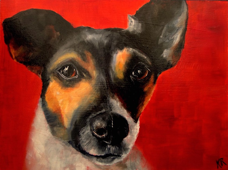 Jack Russell on red - Image 0