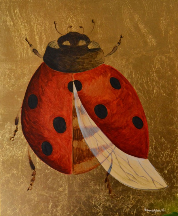 The Golden Ladybug Oil Painting on Lacquered Golden Leaf Canvas - Image 0