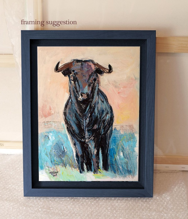 Spanish bull in a blue meadow - Image 0