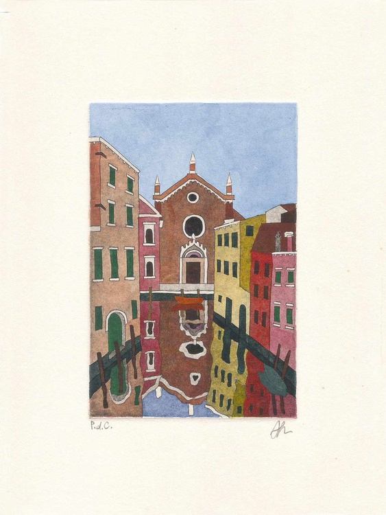 Madonna dell'Orto (Etching + Watercolor) - Image 0