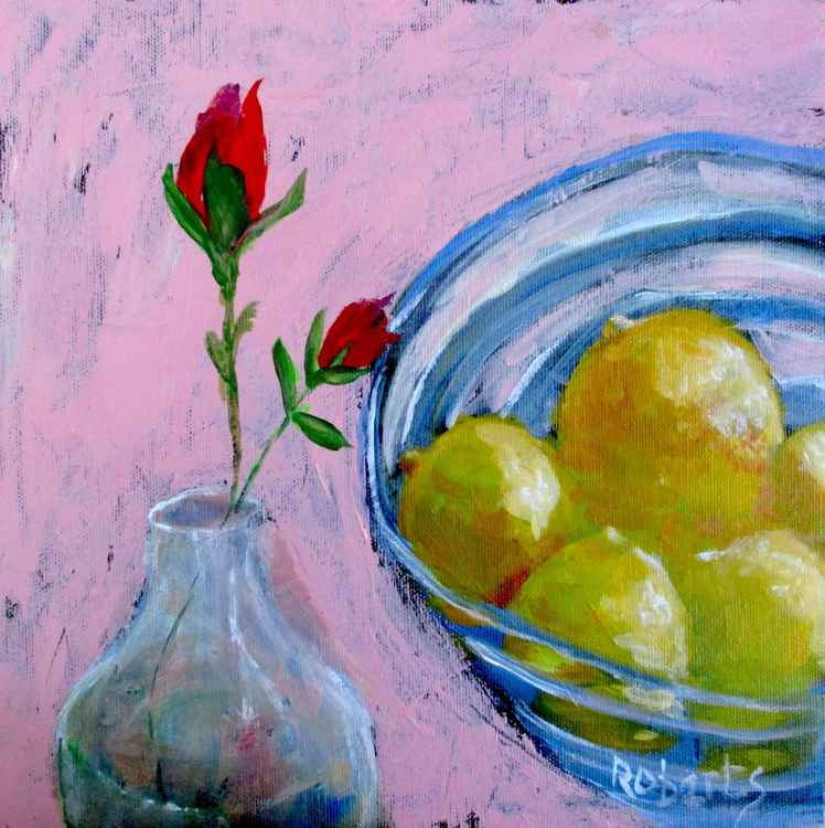 Still life with lemons and rosebuds
