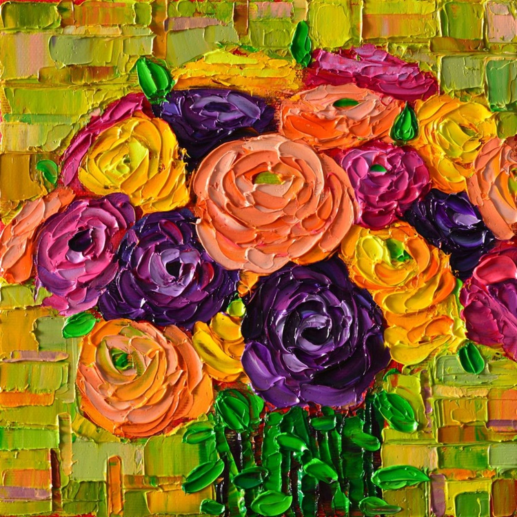 COLOURFUL BUTTERCUPS RANUNCULUS FLOWERS - palette knife floral oil painting - Image 0
