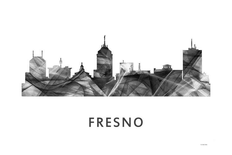 Fresno California Skyline WB BW -