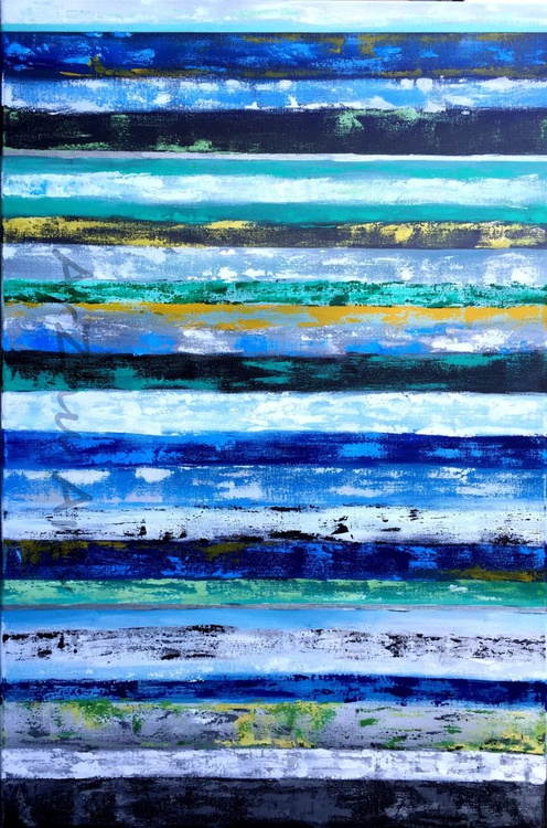 Large Original Blue Stripe Art,  Abstract Acrylic Canvas Painting, Line Modern Artwork, Home Decor - Image 0