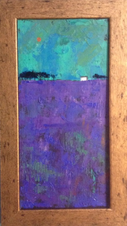 The minutes of the evening - The lavender field ( framed original) - Image 0