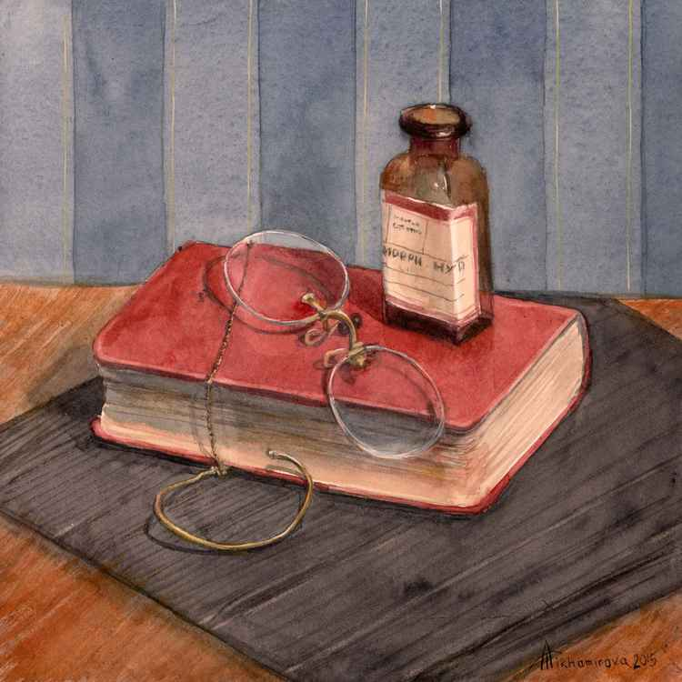 Apothecary Still life with a Red Book