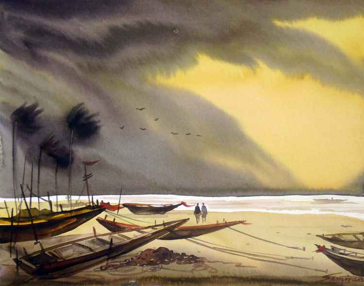 Storm & Fishing Boats- Watercolor on paper