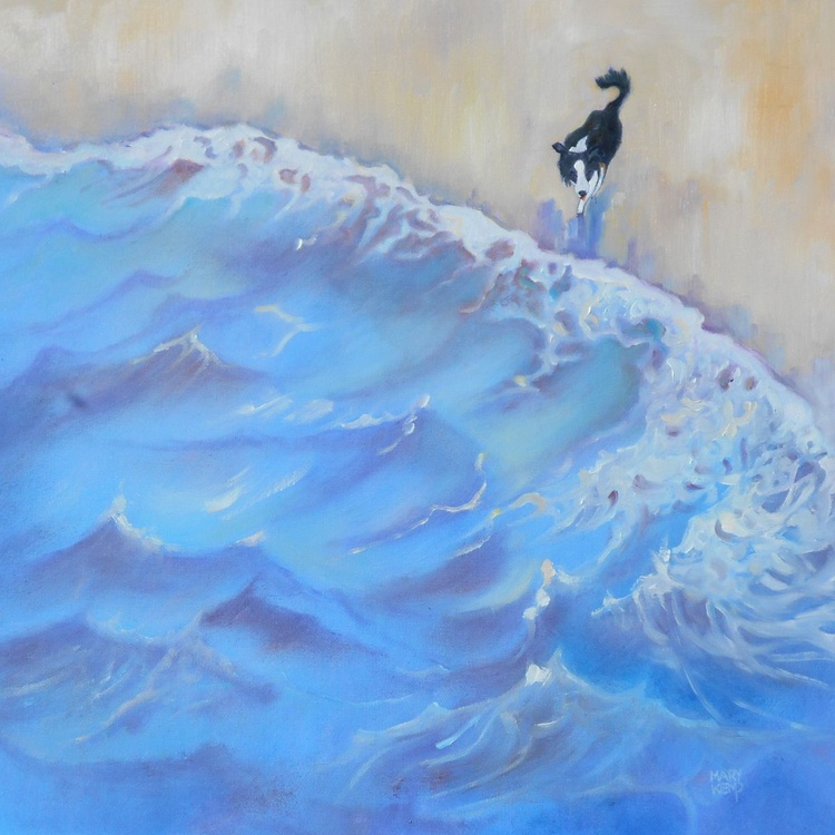 Border Collie Stepping Out. Animal Painting. Impressionist Art. - Image 0