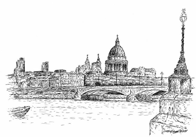 St Paul's Cathedral & River Thames scene, London FRAMED ORIGINAL - Image 0