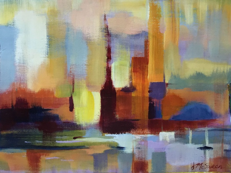 Lit Abstract Acrylic Cityscape In Orange, Crimson, and Blue Violet - Image 0