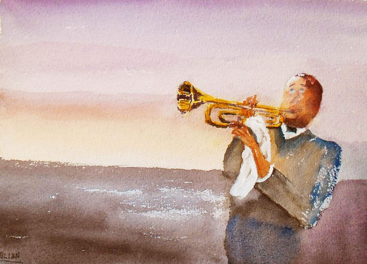 'SATCHMO' Louis Armstrong - Blowing the high notes! Original Watercolour Painting - Image 0