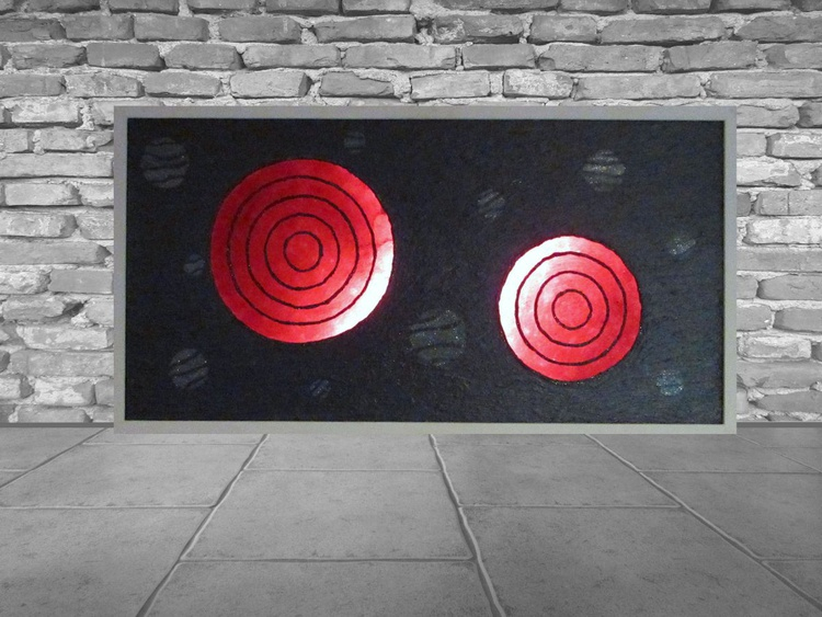 The Rings of Fire- Original mix media painting and lamp in one - Image 0