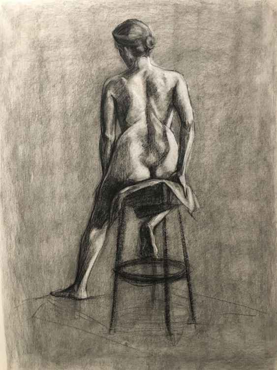 Sitting nude study