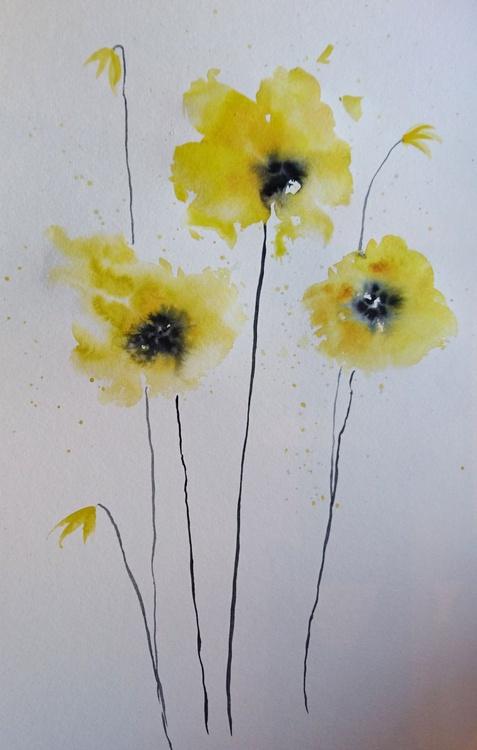"yellow poppy 2 16""x20"" mounted - Image 0"