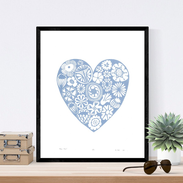 Flower Heart in Serenity  - Framed - FREE UK Delivery - Image 0