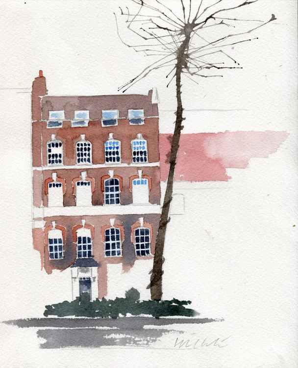 George Eliot Home in London Watercolour