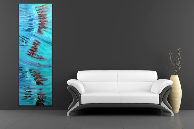 Spring - 40x120 cm, Original abstract painting, oil on canvas, - Image 0