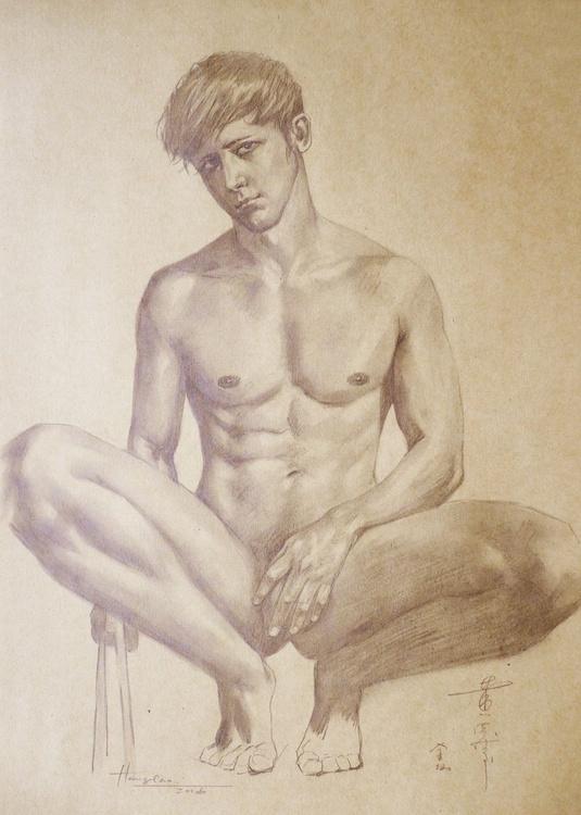 ORIGINAL DRAWING PENCIL  ARTWORK  MALE NUDE BOY ON BROWN PAPER#16-6-13-01 - Image 0